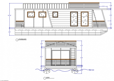 East Coast House Boats Riverlodge Starboard Exterior Elevation